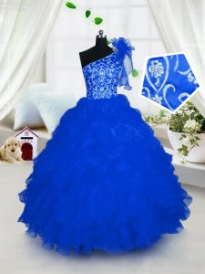 One Shoulder Royal Blue Organza Lace Up Evening Gowns Sleeveless Floor Length Embroidery and Ruffles