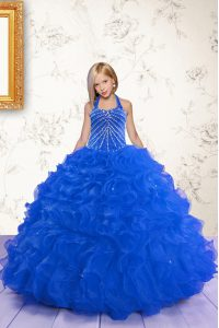 Royal Blue Ball Gowns Organza Halter Top Sleeveless Beading and Ruffles Floor Length Lace Up Custom Made Pageant Dress