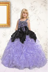 Beautiful Pick Ups Floor Length Lavender Little Girls Pageant Dress Wholesale Straps Sleeveless Lace Up