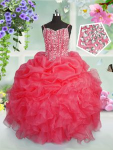 Exquisite Beading and Ruffles and Pick Ups Pageant Gowns Rose Pink Lace Up Sleeveless Floor Length