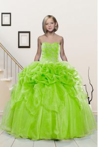 High Class Sweetheart Sleeveless Organza Little Girls Pageant Dress Wholesale Beading and Pick Ups Lace Up