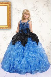 Beading and Pick Ups Little Girls Pageant Dress Wholesale Blue Lace Up Sleeveless Floor Length