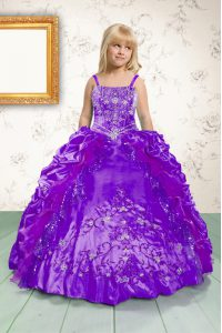 Purple Lace Up Spaghetti Straps Beading and Appliques and Pick Ups Little Girls Pageant Gowns Satin Sleeveless