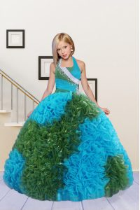 Customized Halter Top Sleeveless Floor Length Beading and Ruffles Lace Up Kids Formal Wear with Baby Blue and Green