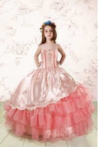 Dazzling Baby Pink Lace Up Spaghetti Straps Embroidery and Ruffled Layers Kids Formal Wear Organza Sleeveless