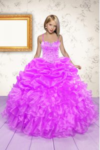 Exquisite Pick Ups Floor Length Hot Pink Little Girls Pageant Gowns Spaghetti Straps Sleeveless Lace Up