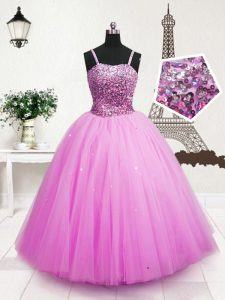 Spaghetti Straps Sleeveless Tulle Pageant Gowns Beading and Sequins Zipper