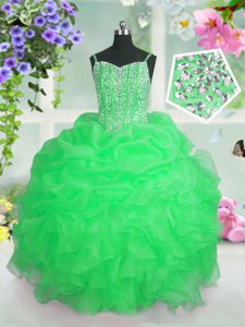Sleeveless Beading and Ruffles and Pick Ups Floor Length Pageant Dress for Girls