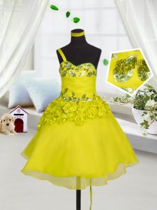 Mini Length Lace Up Pageant Dress for Womens Yellow for Party and Wedding Party with Beading and Appliques and Hand Made Flower