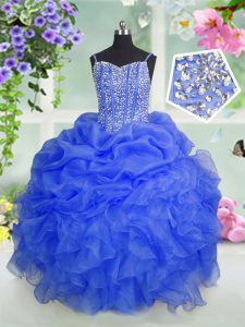 Custom Design Baby Blue Organza Lace Up Spaghetti Straps Sleeveless Floor Length Little Girls Pageant Gowns Beading and Ruffles and Pick Ups