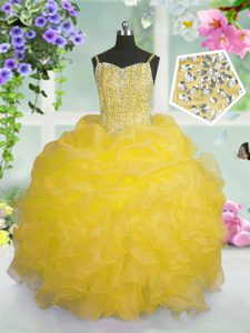 Charming Gold Organza Lace Up Spaghetti Straps Sleeveless Floor Length Pageant Dress for Teens Beading and Ruffles and Pick Ups