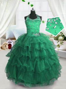 Ruffled Floor Length Peacock Green Glitz Pageant Dress Scoop Sleeveless Lace Up