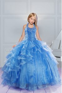 Stylish Baby Blue Halter Top Lace Up Beading and Ruffles Little Girls Pageant Gowns Sleeveless