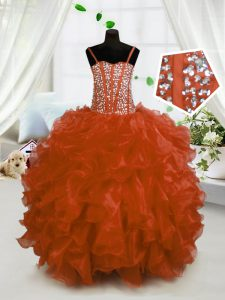 Super Rust Red Ball Gowns Beading and Ruffles Little Girls Pageant Gowns Lace Up Organza Sleeveless Floor Length