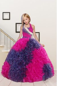Cute Halter Top Sleeveless Floor Length Beading and Ruffles Lace Up Child Pageant Dress with Fuchsia