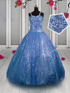 Sequined Sleeveless Floor Length Pageant Gowns For Girls and Sequins