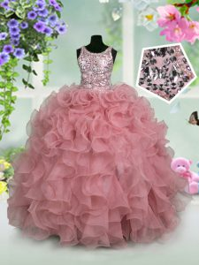 Scoop Organza Sleeveless Floor Length Little Girls Pageant Gowns and Ruffles and Sequins