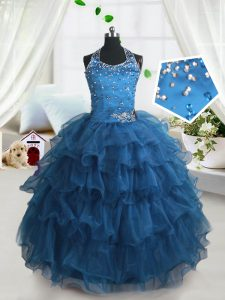 Custom Made Teal Spaghetti Straps Lace Up Beading and Ruffled Layers Pageant Dress for Girls Sleeveless