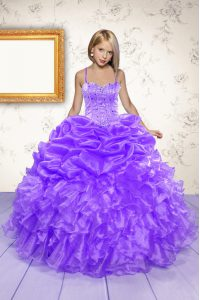 Beading and Ruffles and Pick Ups High School Pageant Dress Eggplant Purple Lace Up Sleeveless Floor Length