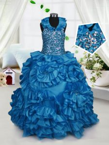 High Quality Halter Top Teal Ball Gowns Beading and Ruffles Child Pageant Dress Zipper Taffeta Sleeveless Floor Length