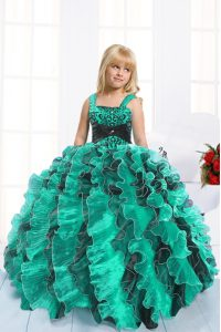 Customized Teal Organza Lace Up Straps Sleeveless Floor Length Little Girl Pageant Gowns Beading and Ruffles
