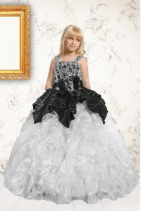 Unique Silver Ball Gowns Straps Sleeveless Organza Floor Length Lace Up Beading and Pick Ups Child Pageant Dress