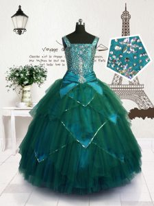 Floor Length Teal Pageant Dress Tulle Sleeveless Beading and Belt