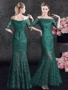 Inexpensive Mermaid Scalloped Floor Length Dark Green Pageant Dress Lace Half Sleeves Lace