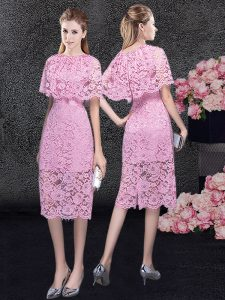 Traditional Scoop Knee Length Pink Pageant Dress Wholesale Lace Half Sleeves Lace