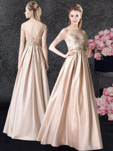 Gorgeous Champagne Empire Taffeta Scoop Half Sleeves Appliques Floor Length Zipper Pageant Dress for Girls