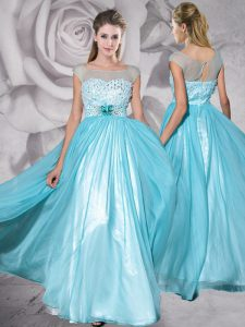 Clearance Cap Sleeves Zipper Floor Length Beading and Appliques Pageant Dress for Womens