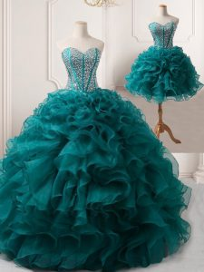 Customized Organza Sweetheart Sleeveless Lace Up Beading and Ruffles Pageant Dress for Girls in Peacock Green