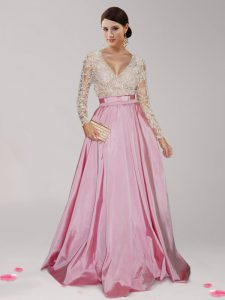 Adorable Empire Pageant Gowns Pink And White V-neck Taffeta Long Sleeves Floor Length Zipper