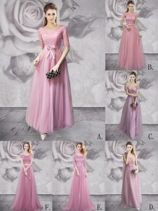 Scoop Lilac Lace Up Pageant Dress Lace and Ruching and Bowknot and Belt and Hand Made Flower Half Sleeves Floor Length