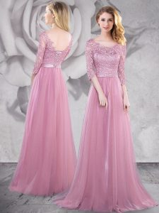 Brush Train Empire Pageant Dress Pink Scoop Tulle Half Sleeves With Train Lace Up