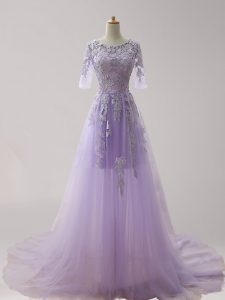 Lavender Scoop Zipper Appliques Pageant Dress for Girls Brush Train Half Sleeves