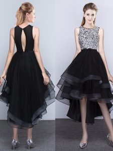 Charming Scoop Beading Pageant Dress for Teens Black Backless Sleeveless High Low