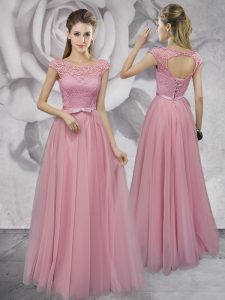 Deluxe Scoop Lace and Ruching and Bowknot Pageant Dress Wholesale Pink Lace Up Cap Sleeves Floor Length