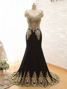 Glamorous Black A-line Scoop Sleeveless Elastic Woven Satin With Brush Train Side Zipper Beading and Appliques Pageant Gowns