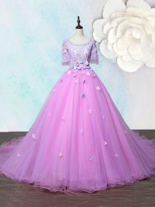 Lilac A-line Scoop Half Sleeves Organza With Train Court Train Lace Up Beading and Appliques Glitz Pageant Dress
