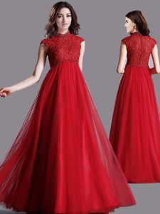 Pretty Floor Length Red Pageant Gowns High-neck Cap Sleeves Zipper