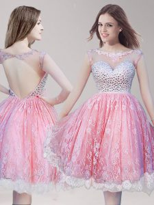 Traditional Scoop Lace Sleeveless Knee Length Beading Backless Pageant Dresses with Pink And White