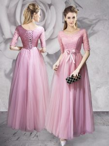 Superior Scoop Pink Tulle Lace Up Custom Made Pageant Dress Half Sleeves Floor Length Lace and Ruching and Bowknot