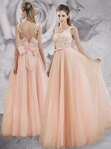 Straps Peach Tulle Lace Up Pageant Dress for Girls Sleeveless Floor Length Appliques and Bowknot