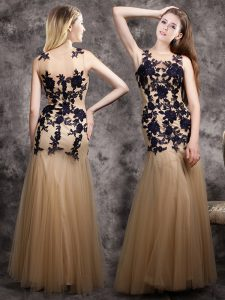 Mermaid Champagne Scoop Neckline Lace and Appliques Pageant Dress Sleeveless Side Zipper
