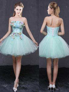 Extravagant Apple Green Organza Lace Up Strapless Sleeveless Mini Length High School Pageant Dress Hand Made Flower