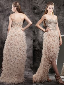 Affordable High Low Champagne Evening Gowns Sweetheart Sleeveless Zipper