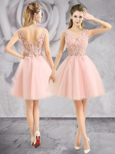Hot Selling Baby Pink Sleeveless Appliques Mini Length Pageant Dress for Womens
