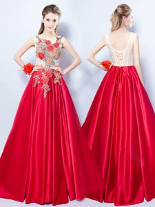 Scoop Appliques Pageant Dress Red Lace Up Sleeveless Floor Length