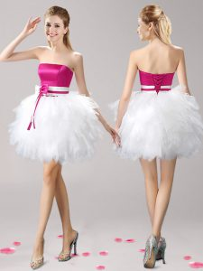 Pink And White Pageant Dress Toddler Prom and Party with Ruffles and Bowknot Strapless Sleeveless Lace Up